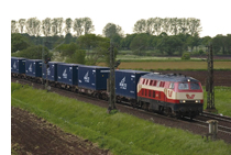 NYK containers on train in Germany